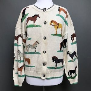 Christine Foley Cardigan Sweater Horses Horseshoe